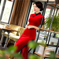 embroidery cheongsam chinese style red vintage long sleeves sleeve traditional dress velvet qipao dress women winter