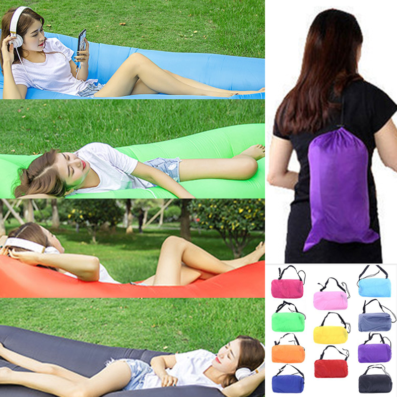 Drop shipping Lazy Bag Sleeping Bag Fast inflatable Camping Air Sofa Sleeping Beach Bed Banana Lounge Bag Air Bed Lounger