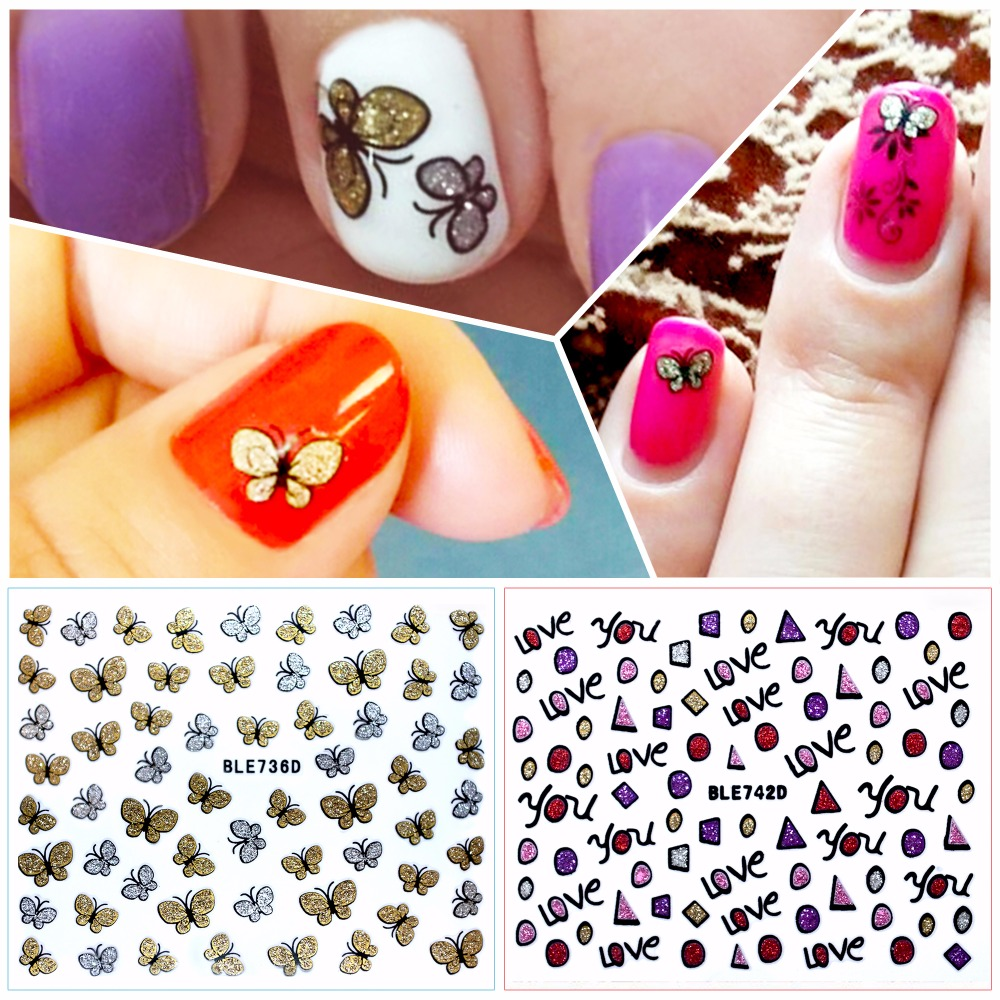 3D Butterfly & LOVE Nail Art Shinning Stickers DIY Nail
