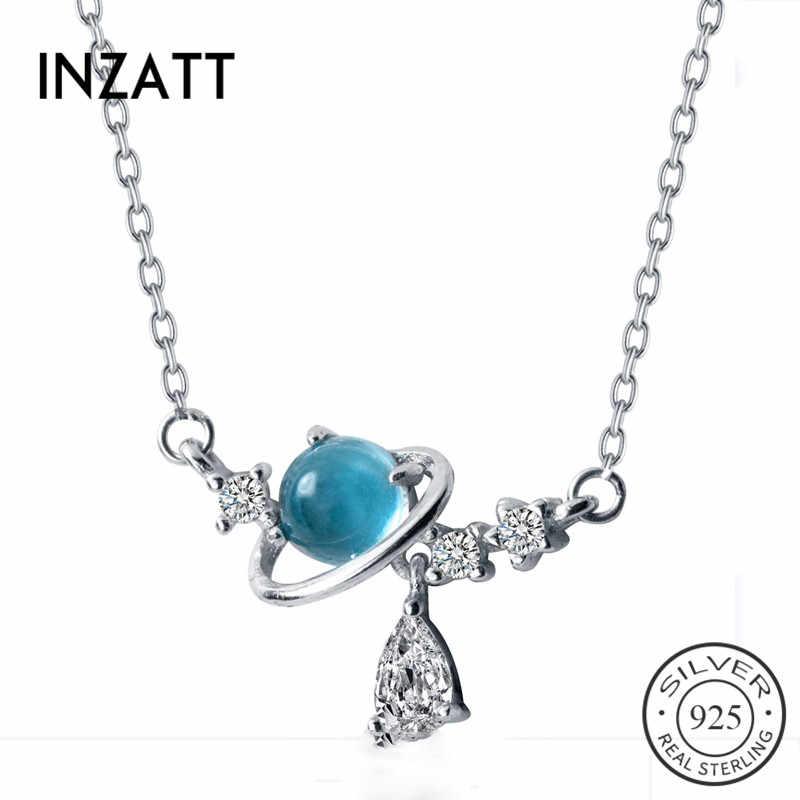INZATT Real 925 en argent Sterling rond bleu cristal pendentif collier pour les femmes de mode bijoux fins accessoires mignons 2019 cadeau