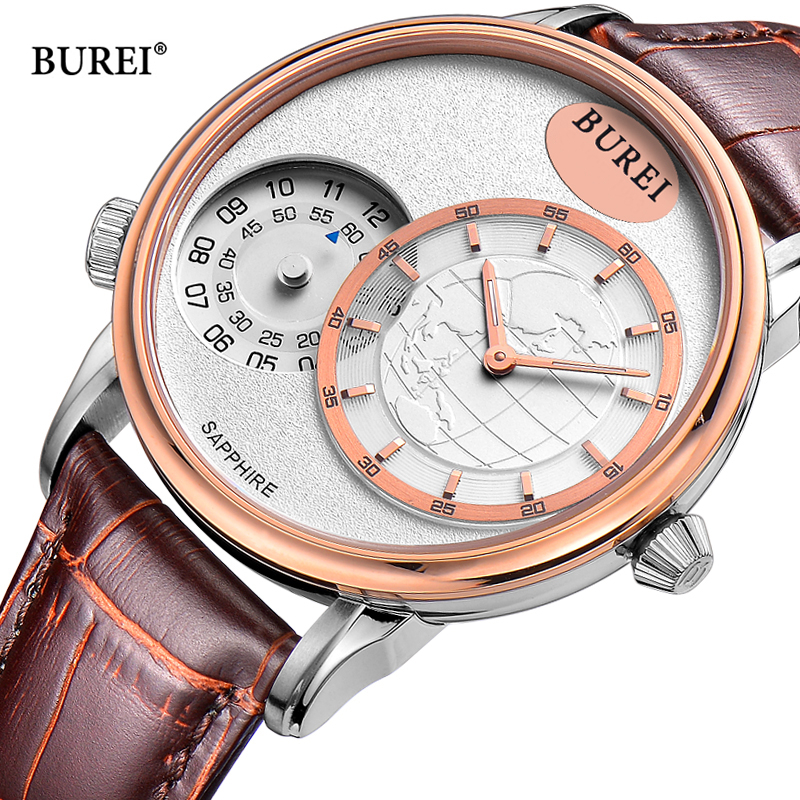 Reloj Hombre BUREI Mens Watches Top Brand Luxury Watch Men Dual Time Zone Leather Quartz Wrist Watch Man Clock Relogio Masculino цена