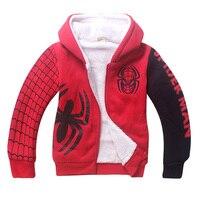 Children Autumn Winter Sweatshirt Spiderman Costume Kids Black Red Hoodies Coat For Boys 4 12T Free