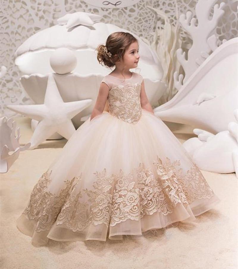 Lace Flower Girl Dress For Wedding Sleeveles Princess Kids Dresses for Girls Ball Gown First Communion Dresses For Little Girl цена