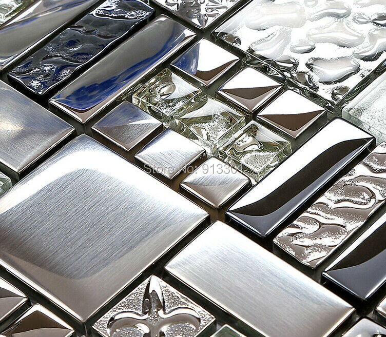 Glass Mixed Metal Tiles Kitchen Wall Tile Backsplash Fd373