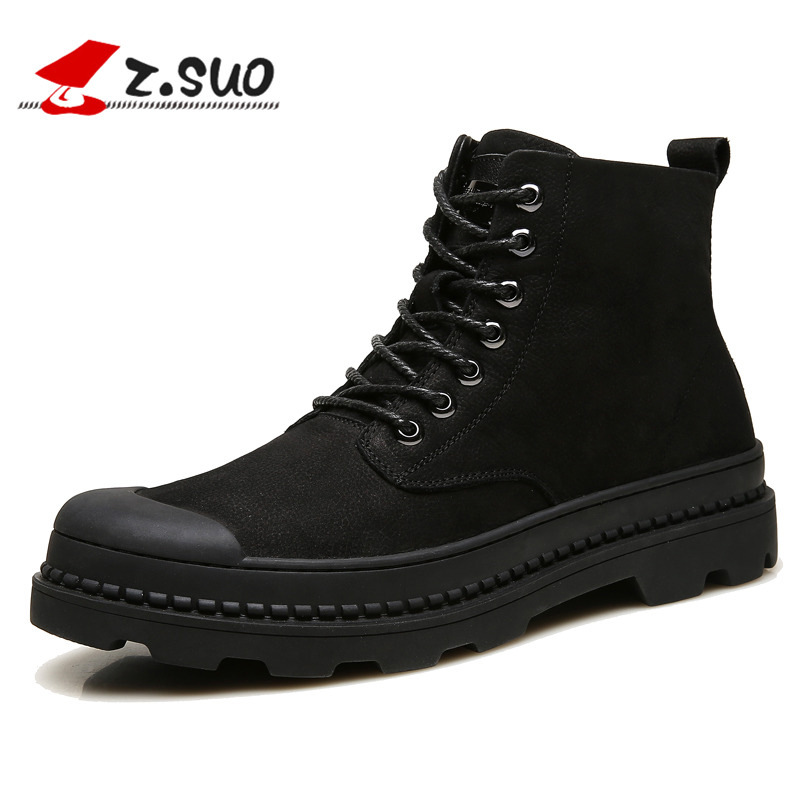 Z.SUO Men's Winter Boots Breathable Genuine Leather Ankle Boots Lace-up Motorcycle Martin Boots For Male botas hombre fashion men s formal martin boots mens leather ankle boots lace up male boots footwear botas hombre spring autumn winter shoe