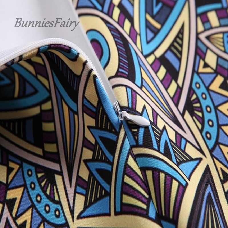BunniesFairy panie elegancki barokowy styl geometryczny wzór druku wysokiej talii mocno spódnica ołówkowa nosić do pracy OL biuro odzież damska