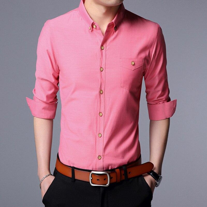 Nouveauté 2018 printemps hommes solide décontracté Slim chemises mâle classique décontracté manches longues t-Shirts vêtements hommes BJ68810S-3XL