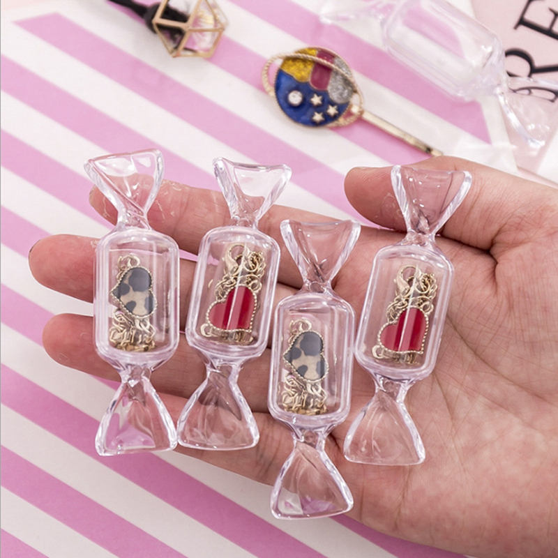 3pcs/set Mini Transparent Candy Shape Ring Box Earrings Wedding Outdoor Activity Vacation Jewelry Display Gift Case Holder