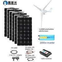 XINPUGUANG 600 Вт ветряные турбины 600 Вт солнечная гибридная система DIY комплект солнечная панель домашний дом контроллер ветрогенератора турбины