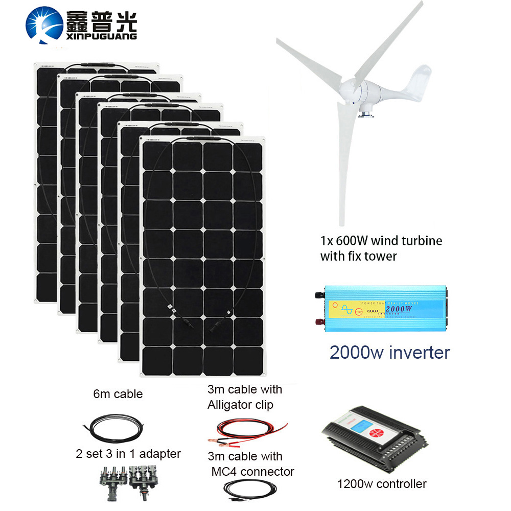 XINPUGUANG 600W Wind Turbines 600W Solar Hybrid system DIY kit solar panel home house wind generator controller turbine battery цены