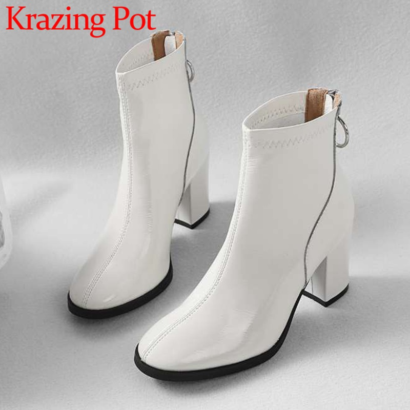 2018 Krazing pot european designer solid cow leather riding chelsea boots round toe high thick heels office lady snkle boots L38 krazing pot cow leather low heels gladiator round toe hollywood european chelsea boots plus size streetwear nude boots l83