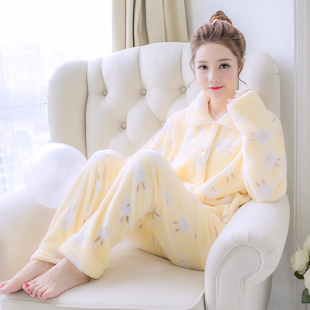 Women Long Sleeve Flannel Nightgown Button Cardigan Large Size Thick  Homewear Soft Winter Autumn Warm Cute Girl Pajama Set Gift 585b82297