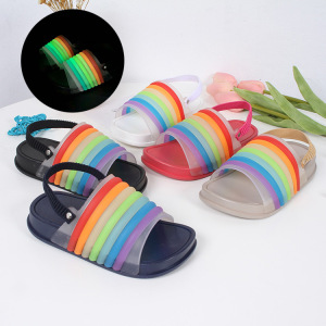 2018 Summer Fashion Kids Sandals Night Luminous Stripes Open Toe Children's Slippers Boys And Girls Beach Flat Slippers Comfort