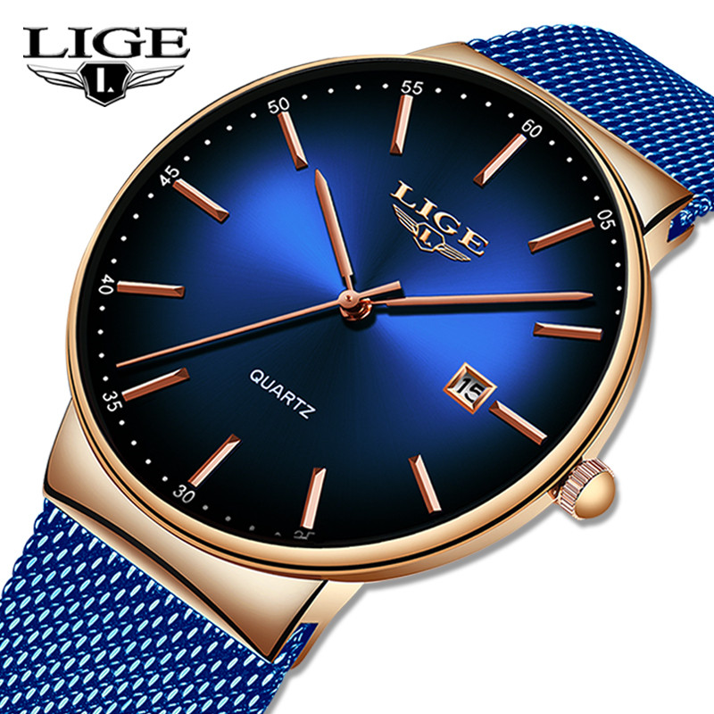 LIGE Mens Watches Top Brand Luxury Black Quartz Men Watch Drop Shipping Mesh Strap Casual Sport Male Clock Relogio Masculino+Box