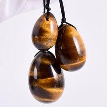 Натуральный тигровый глаз Yoni яйцо массаж яйцо комплект Undrill и деревянное основание стекло минеральное мяч Кегеля Упражнение мышцы малого таза вагинальный