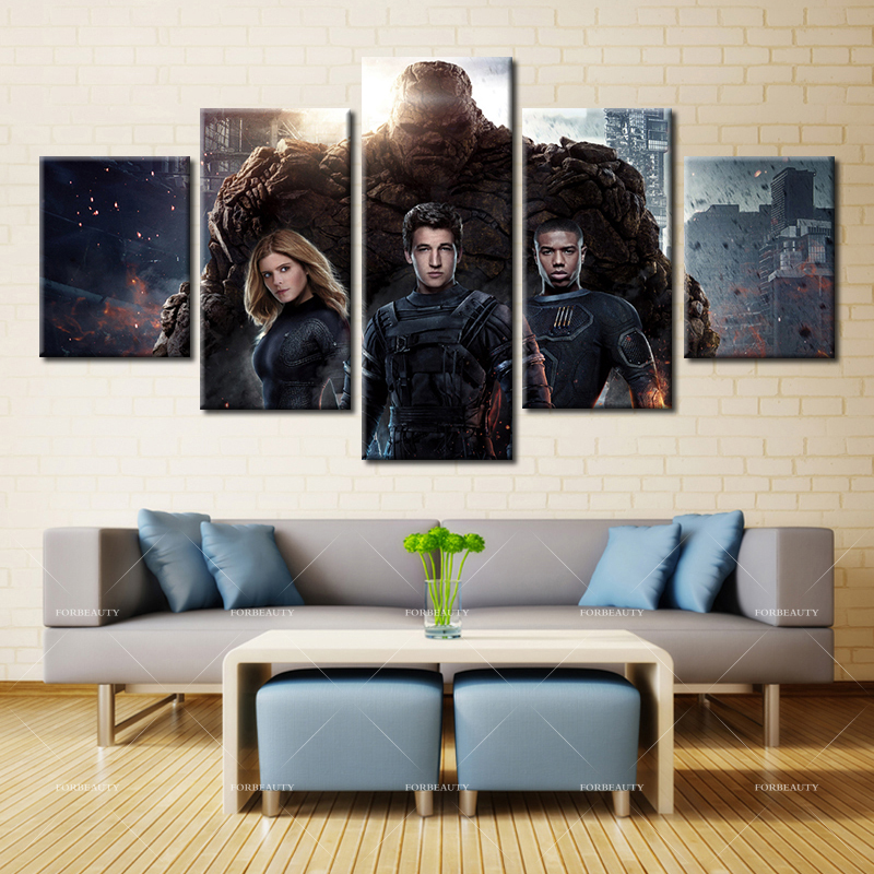 Forbeauty 5 Piece Canvas Painting Home Decor Spray Printings Waterproof Fantastic <font><b>Four</b></font> (2015) <font><b>Blu-ray</b></font> Miles Teller Kate Mara