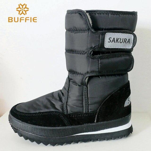 2016 осень зима мужской обуви среднего теленок черные ботинки снега плюшевые теплые мех зимняя мужская обувь плюс размер 35-45 бренд женской обуви сапоги