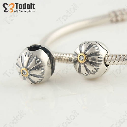 100% 925 Sterling Silver Fancy Orchid Blossoms Daisy Stone Clip Clasp Lock European Bead Charm Fit Pandora Bracelets Necklaces