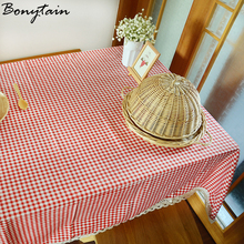 Multi Size England Pastoral Coffe Red Small Checked Plaid Cotton Linen  Tablecloth Tea Tablecloth With