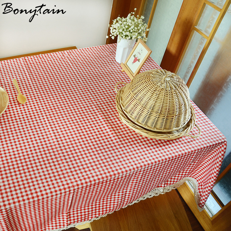Multi Size England Pastoral Coffe Red Small Checked Plaid Cotton Linen  Tablecloth Tea Tablecloth With Lace Tablecloth For Table