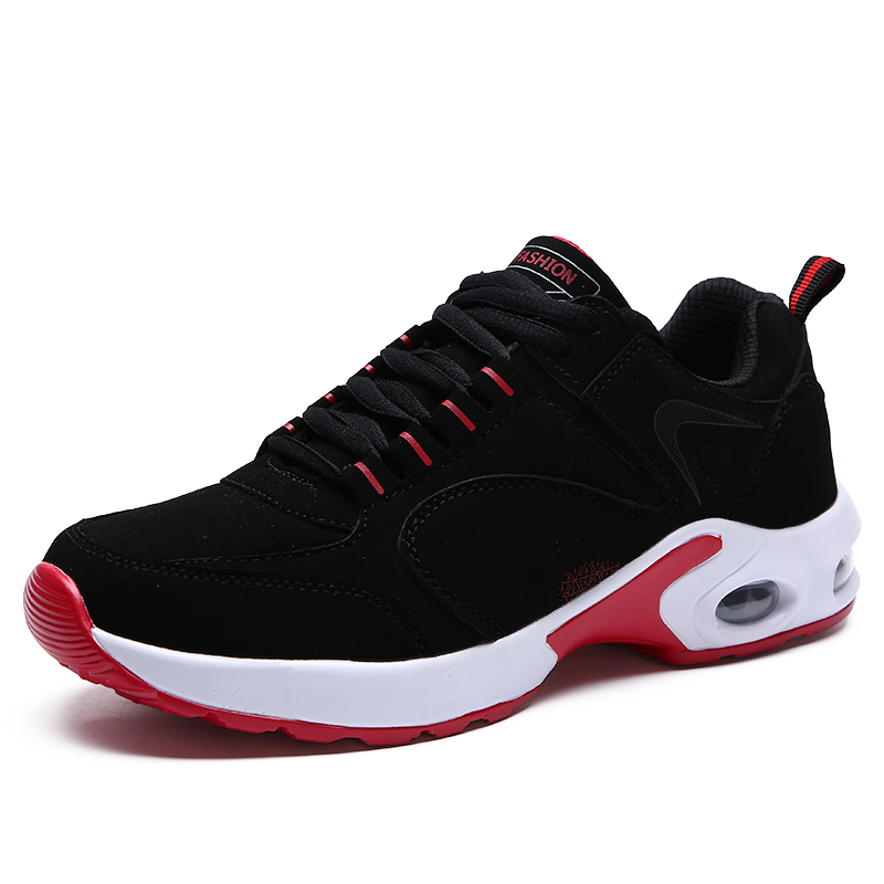 2017 Best Selling Men Running Shoe Black Red Gym Walking Jogging Shoes Air Cushion Men T ...