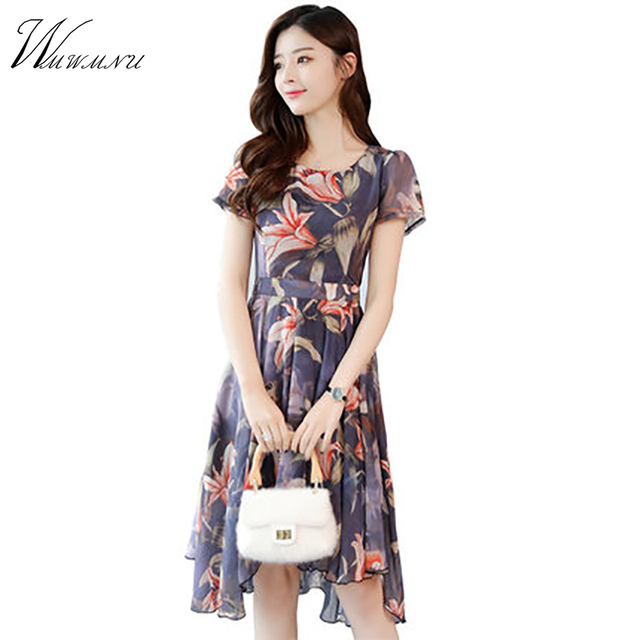 b8f115ff06f1 WMWMNUFloral chiffon dress female long section 2018 summer new fashion  temperament Slim thin casual tide short-sleeved dress