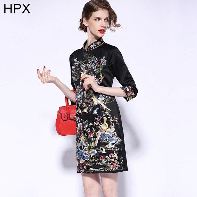 Женщины Черный Красный Животных Птицы Дерево Вышивка Китайский Стиль Ци пао  Элегантный Dress 2016 Весна Лето dfa8dadd8e9ea