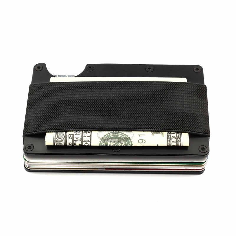Rfid Metal Wallet Aviator Nfc Travel Aluminium Credit Card Holder with Money Wallets Clip