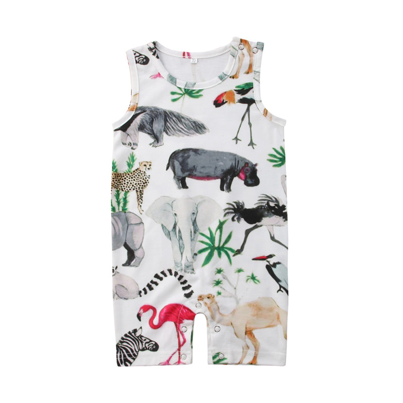 Newborn Baby Girl Boy Floral&Animal Sleeveless   Romper   Jumpsuit Outfits Set Sunsuit