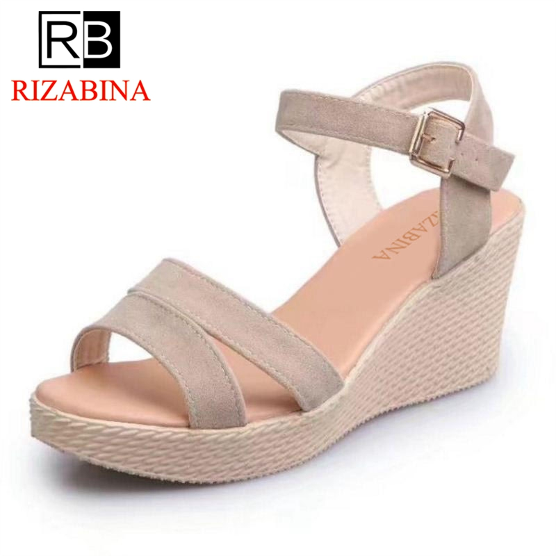 RizaBina Sexy Women Summer Wedges Sandals Ankle Strap Platform Wedges Sandals Summer Vacation Shoes Women Footwear Size 35-39 portable cosmetic bag suitcases makeup beauty professional multi function cosmetology tattoo eyebrow teacher manicure case