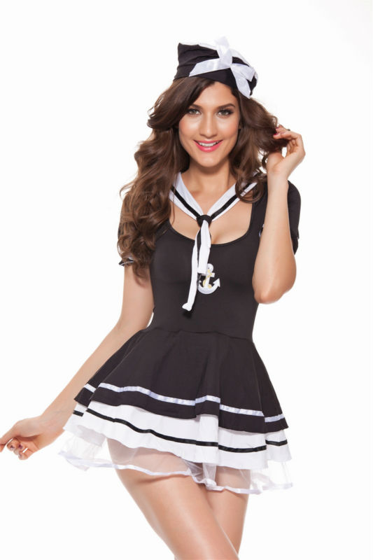 Free Shipping  Sexy Lady Sailors Costumes Dress Navy Uniform With Cap