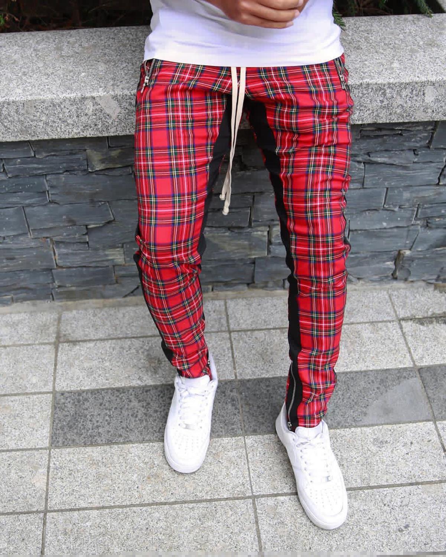 Streetwear red Plaid Pants