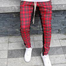 Streetwear red Plaid Pants Men Joggers 2019 Man Casual Straight Pants Men Hip Hop Track Pants Plus Size