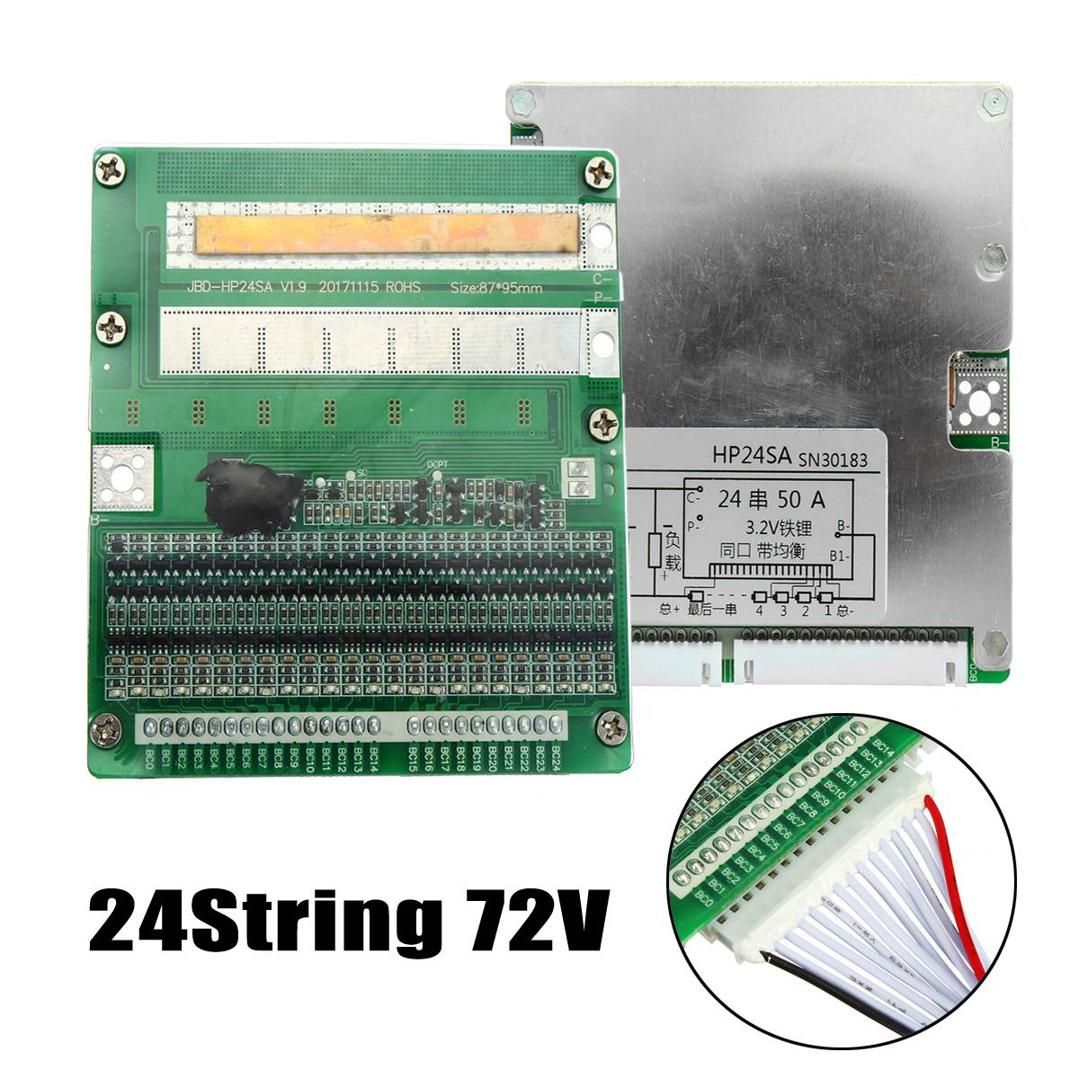 72 В 50A/150a BMS PCM для 24 s строка lifepo4 limpo4 Батарея охраны доска с баланс