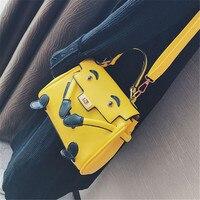 Luxury Handbags Women Bags Designer Monster Satchels Girls Cartoon Bags 2017 New Yellow Leather Bag Shoulder