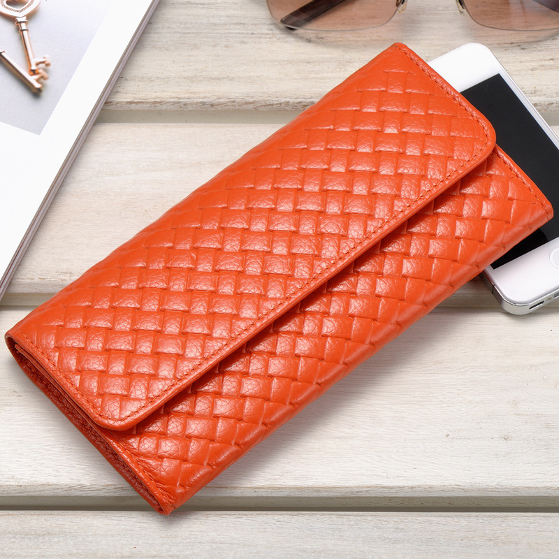 Luxury Brand Kintting Genuine Leather Women Wallet Female Purse long Card Holder Phone Clutch Phone Holders Money Bag contact s knitting genuine leather wallet women luxury brand female purse card holder clutch walet money bag dollar price 2017