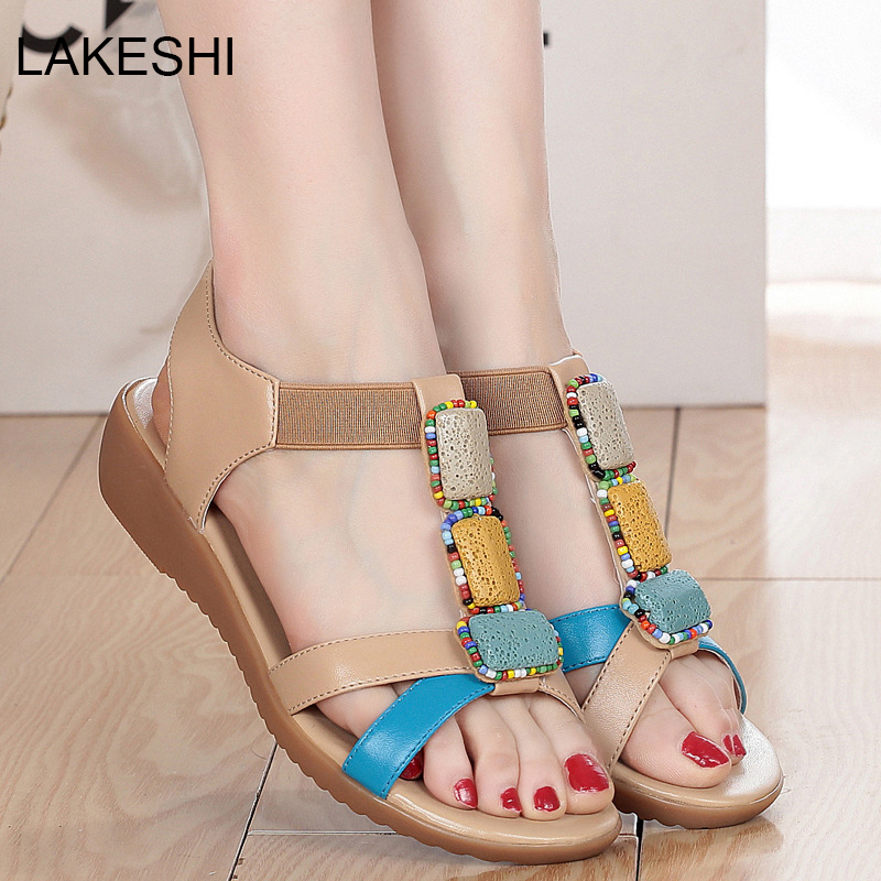 LAKESHI Women Sandals Wedges Heels Sandals Gladiator Women Shoes Soft Leather Casual Open Toe Women Summer Shoes Plus 42 43 2017 gladiator summer shoes woman platform sandals women flats soft leather casual open toe wedges sandals women shoes r18