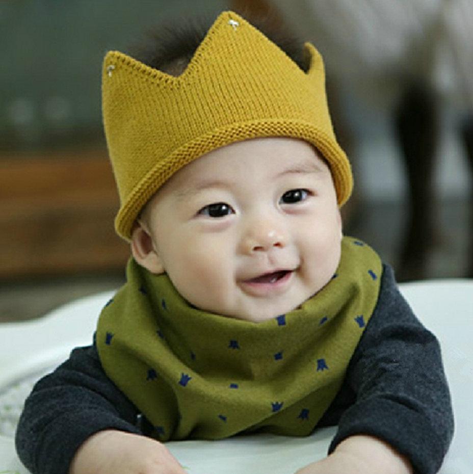 Baby Boy Girl Knit Cap Crown Style Baby Hat kids Handmade Crochet children beanies accessories