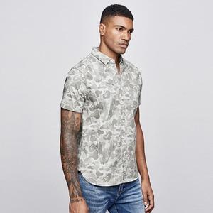 Image 3 - KUEGOU 2019 Sommer Baumwolle Camouflage Shirt Männer Kleid Casual Slim Fit Kurzarm Streetwear Für Bluse Männer Military Hemd 8817
