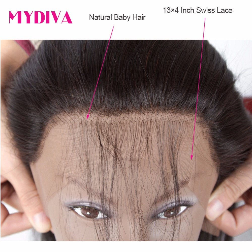 Mydiva Brazilian Straight Human Hair 3 Bundles With Closure Non Remy Hair Weave Bundles With Lace Frontal 4 Pcs/Lot 10-26