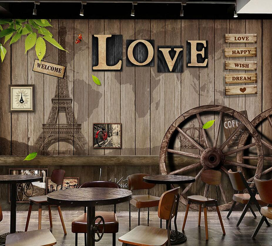 European Vintage Photo Mural for Coffee Shop Restaurant ...