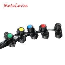 MotoLovee универсальные переключатели для мотоциклов, алюминиевый руль, крепление для фары, кнопка включения и запуска, противотуманный светильник