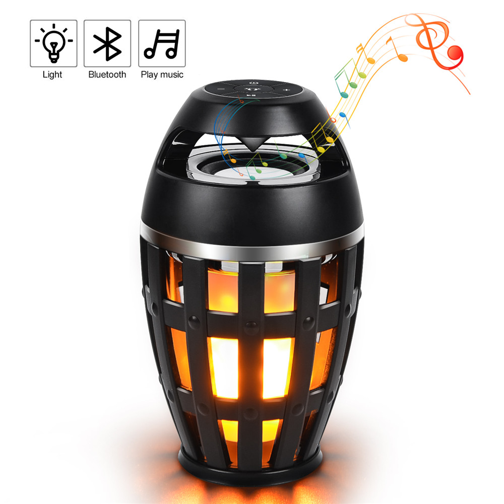 Kmashi LED Flame Lamp Night Light Bluetooth Wireless Speaker Touch Soft Light For iPhone Android Christmas gift MP3 Music Player