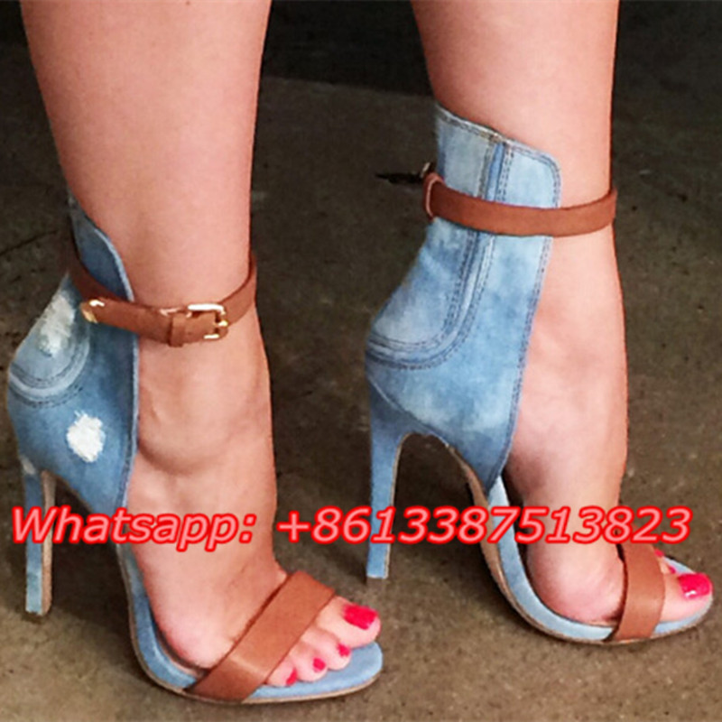 Sapato Feminino Blue Denim Ankle Strap Mixed Color Summer Casual Sandals Shallow Cut-Outs Stiletto Heels Sexy Ladies Shoes Woman sapato