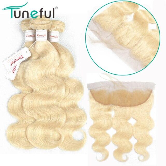 Blonde Bundles With Frontal Closure Body Wave Tuneful 100 Brazilian