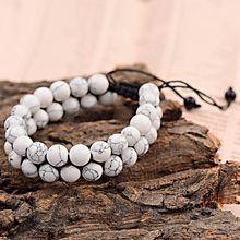 Oicos pulseira trançada unissex, bracelete de pedra natural fosca, dourado, branco, howlite, bijoux