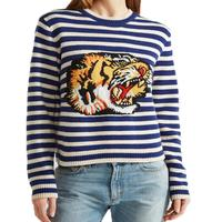 Luxury Brand Striped Sweaters Women 2017 Autumn Winter Long Sleeve Runway Sweaters Tiger Embroidery Pullovers Maglioni