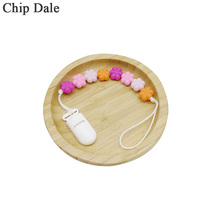 Chip Dale Baby Pacifier Chain Soother Dummy Clips Flower Silicone Bead Teether Ring Newborn Shower Gifts