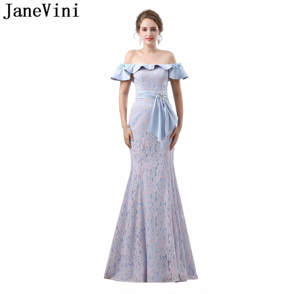 JaneVini 2018 Elegant Mermaid Lace Long   Bridesmaid     Dresses   with Applique Crystal Boat Neck Ruffles Floor Length Prom Party Gowns