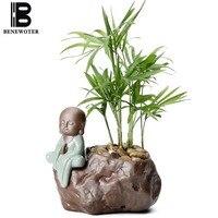Zen Chinese Style Ceramics Plant Bonsai Retro Little Monk Flower Pot Plant Pot Desktop Decoration Garden Planters Vase Container